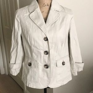 Coldwater Creek cream blazer 14